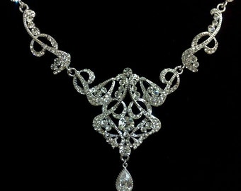 Statement Bridal Necklace, Art Deco Necklace, Gatsby Wedding Jewelry, Crystal Wedding Necklace, Silver Bridal Jewelry, CARMEN