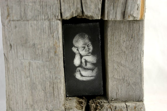 Hiding places - original graphite drawing in reclaimed barn wood