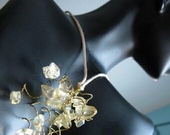 SASHAE. Vanilla Pendant Necklace. Tendril Style on Satin Cord