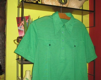 vintage 70s bright green apple polo shirt top Vitos women men 1970 pointed collar 1960 60s