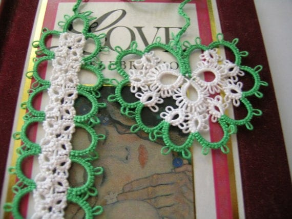 For Love                                                        Tatted Bookmark with heart tassle Handmade Tatting