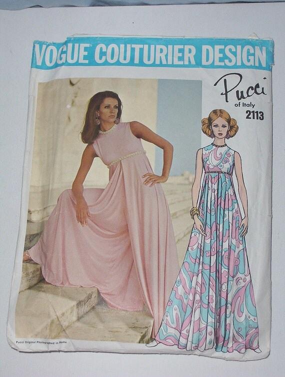 Vintage 60s Evening Dress Pattern Vogue Couturier Design 2113 Pucci Size 12 Bust 34
