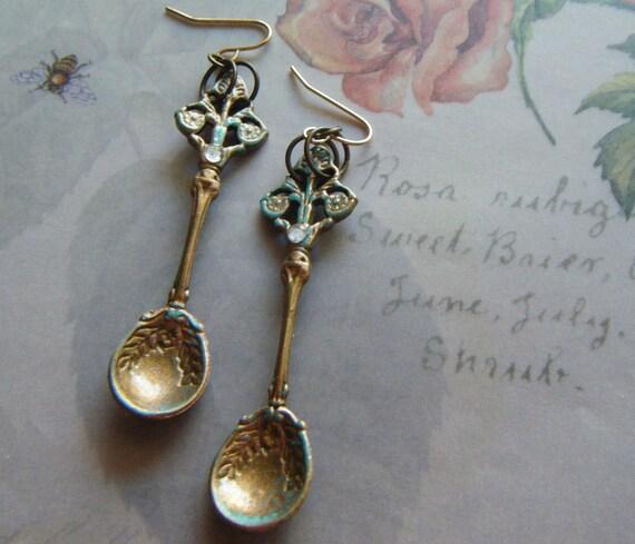 Brass Spoon Earrings/FREE SHIPPING