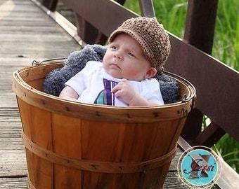 READY TO SHIP - Newborn Newsboy hat in mocha