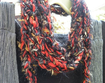 Autumn scarf: women's long knit orange black multicolor fuzzy skinny crochet fashion brown gold silver cotton Princeton Halloween gift i858