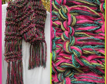 Knit scarf: women's long bright pink green multicolor winter sparkly fashion, warm chunky woman's girl's winter crochet i935