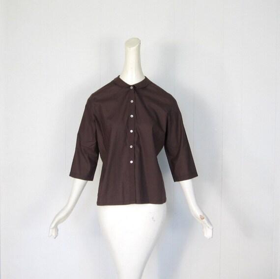 Vintage 60s Blouse / Peter Pan Collar / 1960s Blouse / Coffee Bean Brown / M L