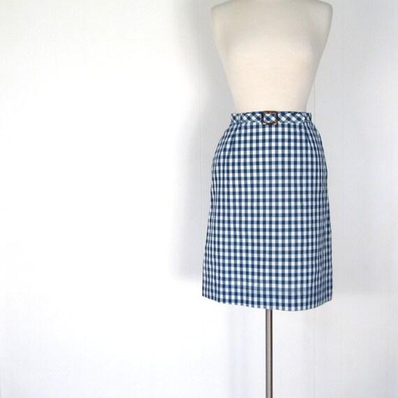 Blue Gingham Skirt / Vintage 1960s Skirt / 60s Skirt / 26W XS S