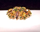 Reserved for Debbie H.  Sherman autumn colours rhinestone brooch