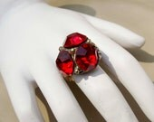 Vintage Gold Ruby ring adjustable band