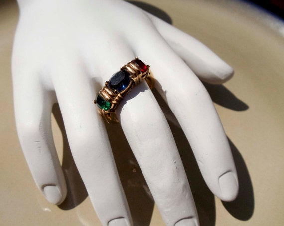Vintage Gold Ruby sapphire emerald ring