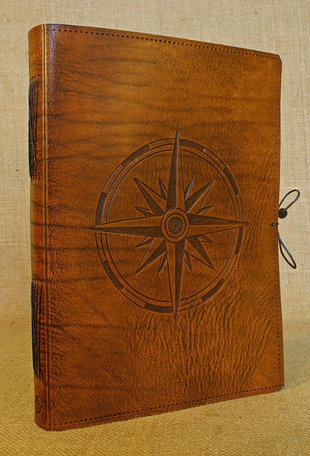 A4 Large Leather Bound Journal Compass Rose By