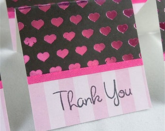 Pink Foil Hearts Mini Thank You Cards 2x2 (6)