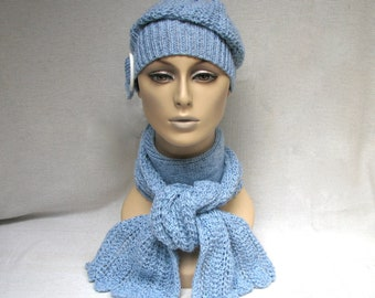 Stylish Hand Knit Wool Set -  Beanie/Slouch Hat with Scarf