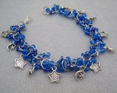 Beaded Bracelet - Silver Links - Celestial (blue) by randomcreative on Etsy