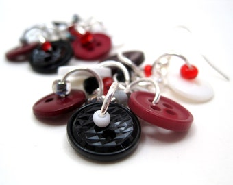 Button Dangle Earrings - Maroon / Dark Red, Gray / Silver, Black, White by randomcreative on Etsy