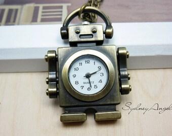 Pocket Watch Necklace Retro Robot