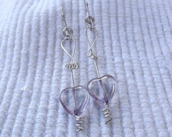 Wire wrapped corkscrew spiral earrings with purple hearts