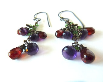 Garnet and Amethyst Gemstone  Dangle Oxidized Sterling Earrings - One of a Kind - Tagt - Free Shipping