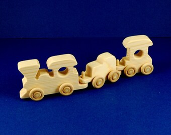 Wood Toy Train - 3 Car Set - Natural Wooden Toys - Train Engine Tender and Caboose - Fun for Toddlers and Children