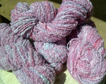Purple and Pink Wooboo, Hand Painted Boucle Yarn, 200 yd skein