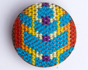 Jacket inspired Brooch (Turquoise, orange, yellow, purple, shield)