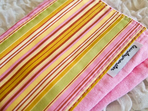 Baby burp cloth - Oxford Stripe pink and mustard yellow hand dyed burp cloth