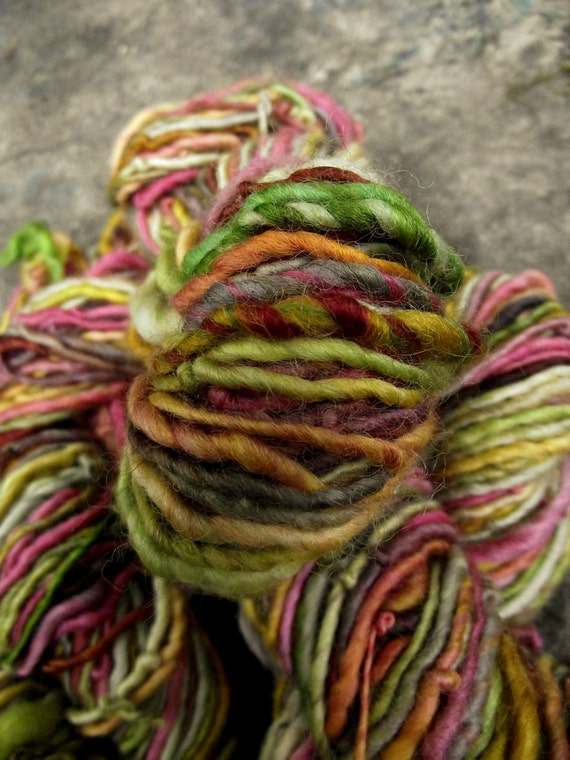 Handspun yarn, handpainted yarn, Merino wool, bulky weight thick and thin-Poison Apple