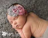 Baby headband, Lala pink gray Shabby Flower sequin bow skinny Elastic Headband newborn baby girl photography prop pictures