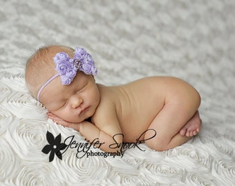 Newborn baby headband, Lavender Mini Mesh rose flower Bow skinny elastic headband newborn baby girl, baby bow Photography Prop pictures