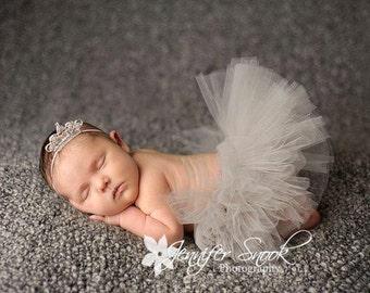 Gray baby tutu set Princess Crown Tiara headband, First Birthday, newborn baby girl photography prop 15% off order