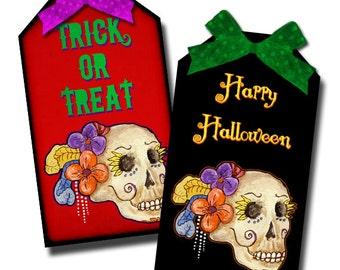Skull Halloween Day of the Dead PrintaleTags Digital Collage Sheet Dia De Los Muertos INSTANT DOWNLOAD