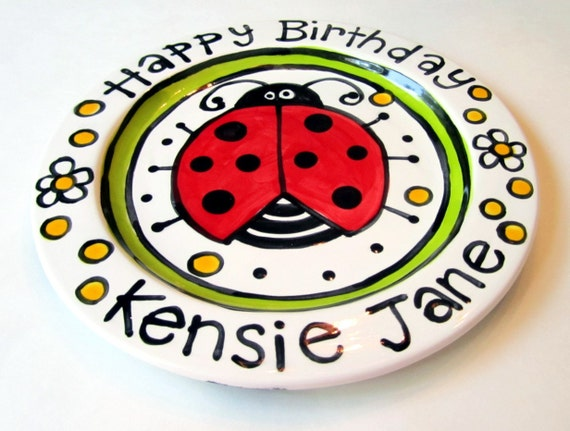 "Happy Birthday 7"" or 10""  Big red ladybug and flowers personalized Plate custom ceramic"