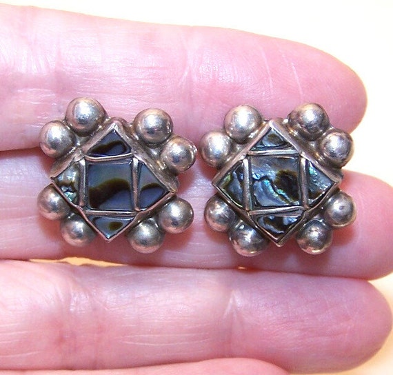 Vintage STERLING SILVER & Abalone Screwback Earrings from Mexico