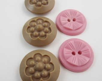 buttons pink brown vintage 1950