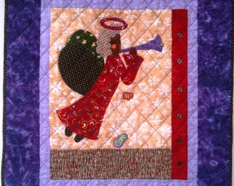 I Believe in Angels Number 18 art quilt wallhanging
