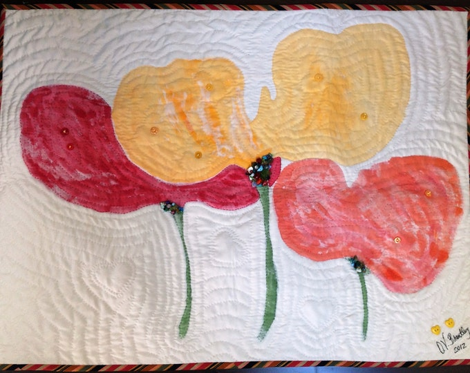 Give Yourself Big Flowers 26 x 20 inch quilted wallhanging