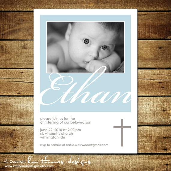 BLESSED ...Custom Printable Baptism or Christening Invitation...by KM Thomas Designs
