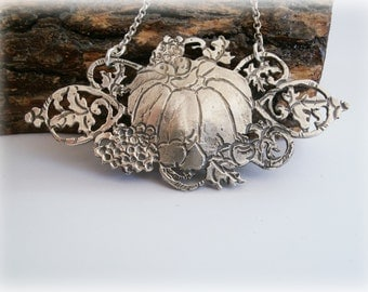 Pumpkin Silver Necklace - Halloween Pumpkin Sterling Silver Jewelry - Naturalist Gift Ideas for Her - Fall  Autumn Harvest Themed Jewelry