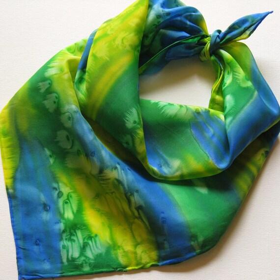 Silk Square Scarf - Summer - Hand Painted Ladies Scarves Bandana Royal Blue Lemon Yellow Kelly Green