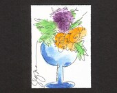Aceo Whimsical Floral in Blue Vase