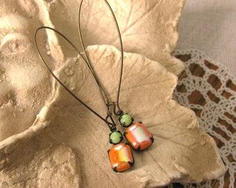 BEAUTIFUL TOGETHER Tangerine Green Vintage Jewel Earrings