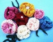 CROCHET PATTERN, rose flower, applique, num 104, easiest crochet flower pattern.