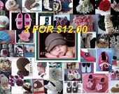 Crochet patterns and Knitting pattern supplies 3 patterns for 12 dollars..over 420 to choose from, hats scarf, slippers, booties, shrugs