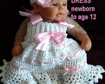 CROCHET Girl's DRESS, PATTERN num 464, newborn to age 12, o.k. to sell your finished items, jumper, dress, headband, barefoot sandals