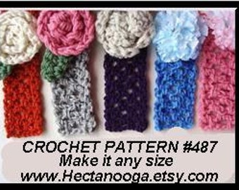 crochet pattern, headband, any size, children, adult, baby, ok to sell them, flower, leaf, accessories, Adele num. 487