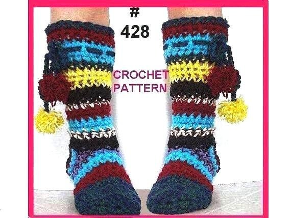 SLIPPERS - Crochet PATTERN - 428, Rainbow Slippers, age 5 to adult sizes, permission to sell your finished slippers.