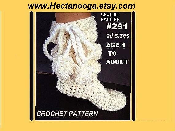crocheted boot slippers,  num. 291- SLOUCHIE BOOT,  baby, children, women, toddlers, teens, adult, instant digital download