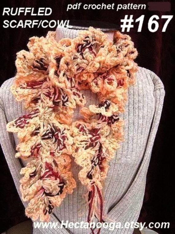 CROCHET SCARF PATTERN, number 167, Peach Ruffled Scarf...... It's crazy easy. Instant Digital Download