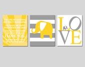 Sunshine Elephant Nursery Art - Set of Three 8x10 Prints - Elephant Love, Striped Elephant, You Are My Sunshine - CHOOSE YOUR COLORS